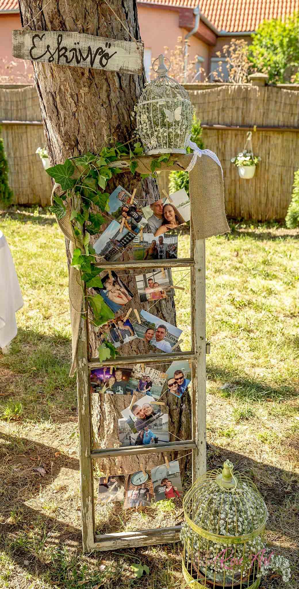 RoseArt Esküvői Kellékek Vintage Fotófal Létra Dísz Dekoráció Kert