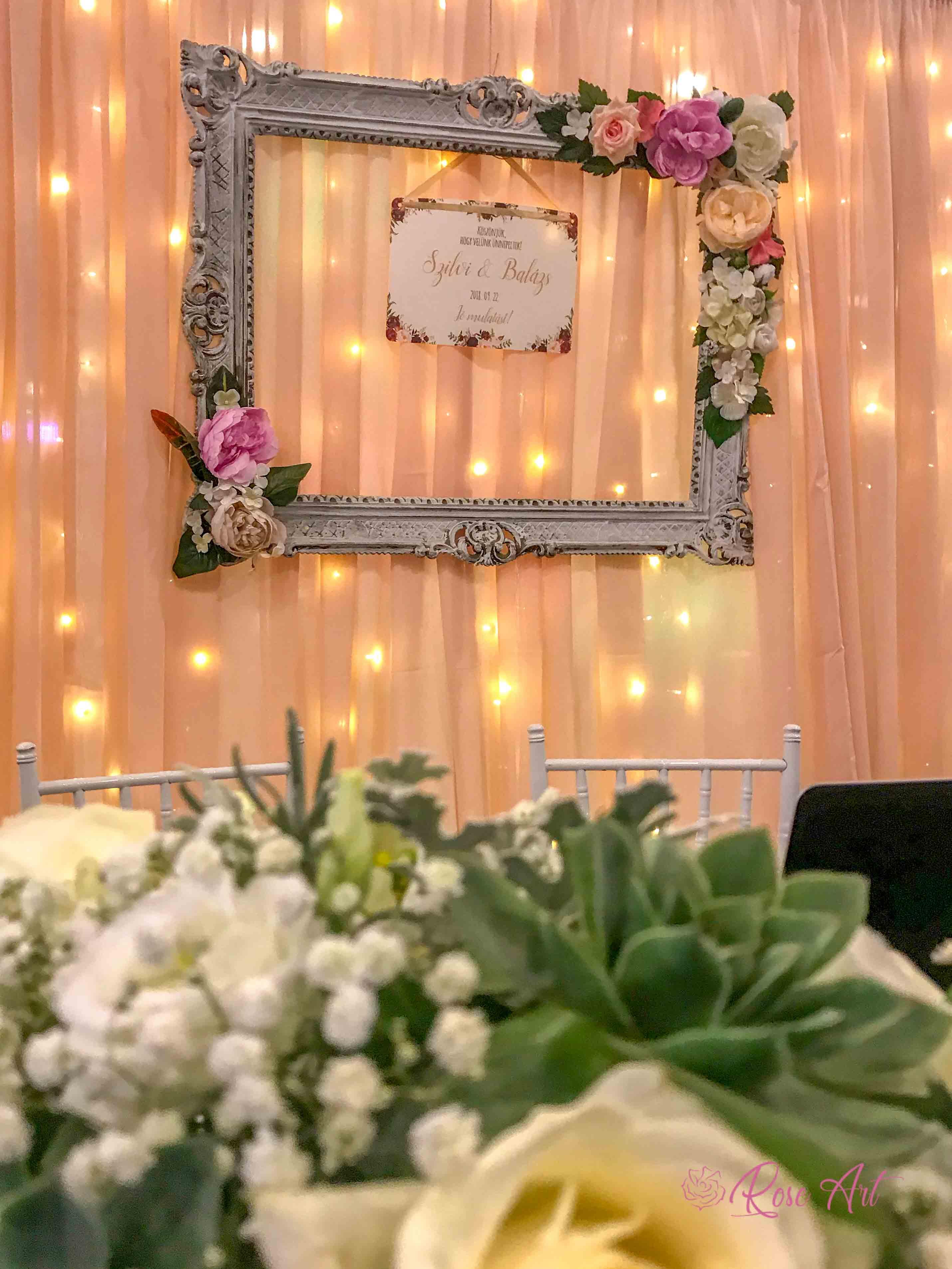 RoseArt Esküvői Kellékek Képkeret Főasztal Dekoráció Virág