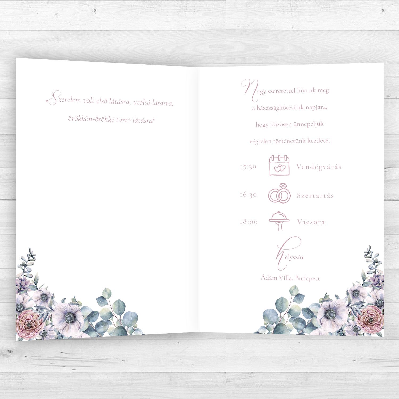 a3a3a154c6 Esküvői Meghívó RoseArt Anita Márton Egyszerű Kinyitható Virág Motívum  Időrend Belsőoldal