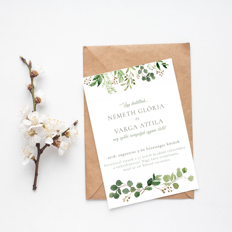 8c3f177605 Esküvői Meghívó RoseArt Glória Attila Minimál Egyszerű Elegáns Natúr Virág  Motívum Egyoldalas Boríték