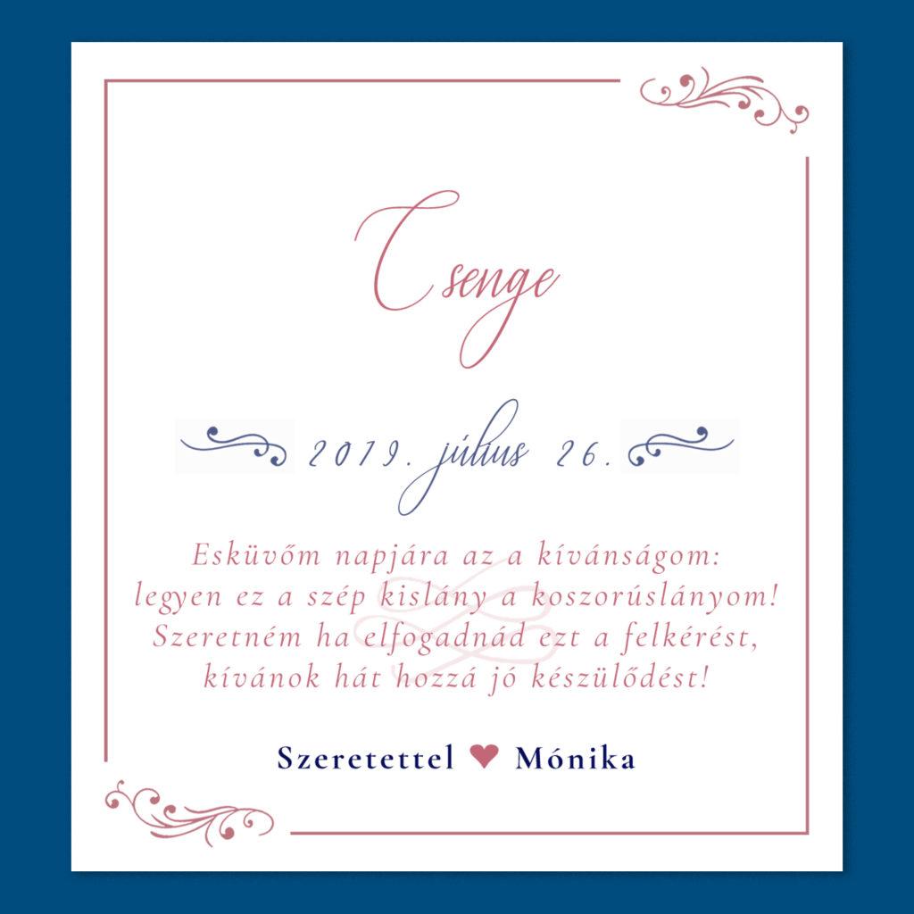 Esküvői Meghívó Koszorúslány RoseArt Csenge Egyszerű Elegáns Kék