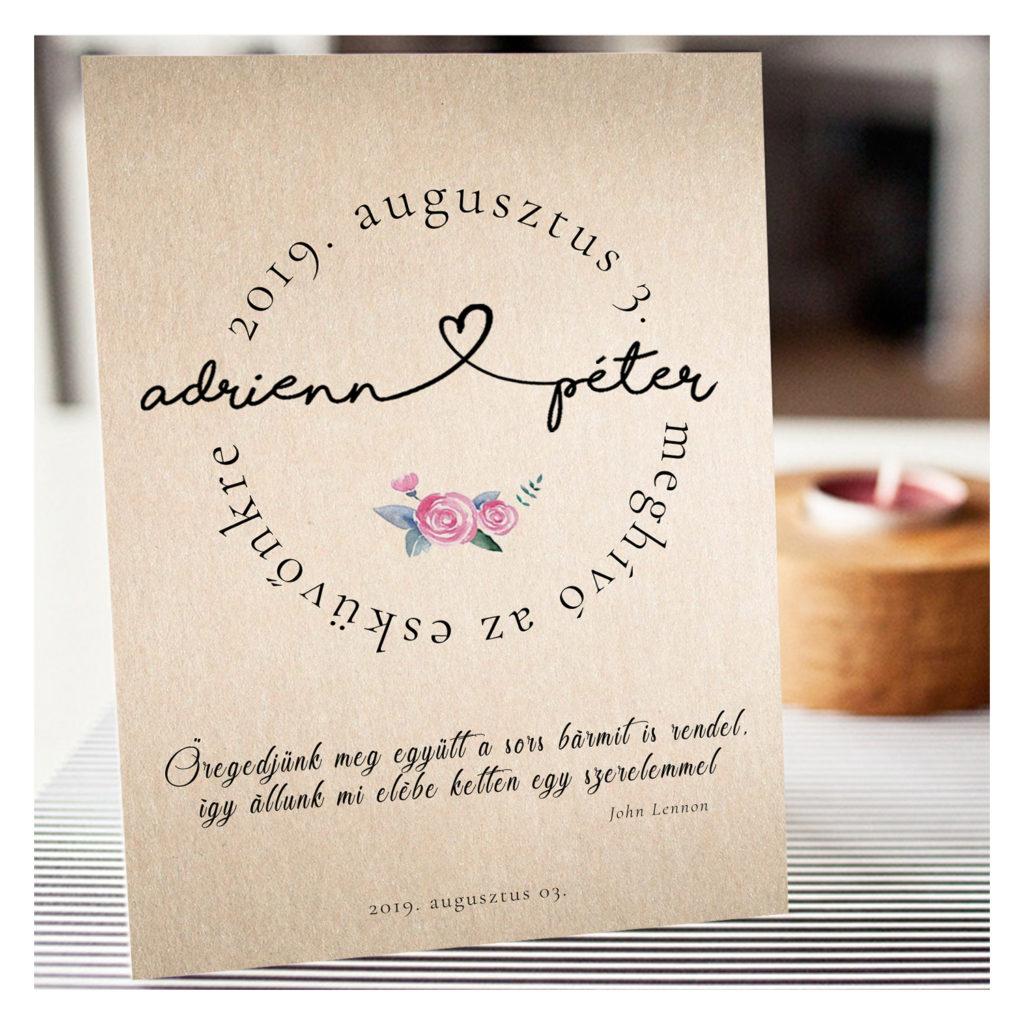 Esküvői Meghívó RoseArt Adrienn Péter Egyszerű Natúr Virág Szív Motívum Egyoldalas