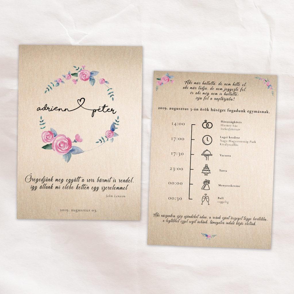 Esküvői Meghívó RoseArt Adrienn Péter Egyszerű Natúr Virág Szív Motívum Időrend Kétoldalas