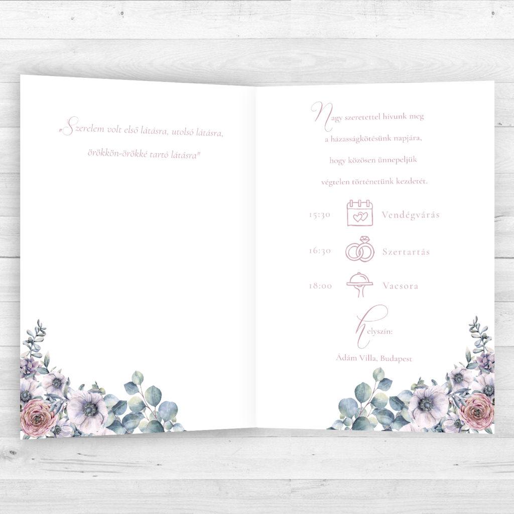 Esküvői Meghívó RoseArt Anita Márton Egyszerű Kinyitható Virág Motívum Időrend Belsőoldal