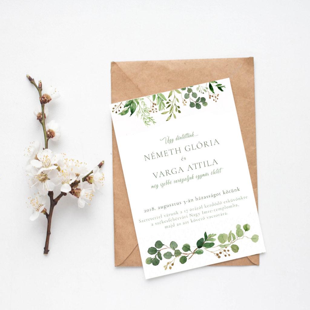 Esküvői Meghívó RoseArt  Glória Attila Minimál Egyszerű Elegáns Natúr Virág Motívum Egyoldalas Boríték