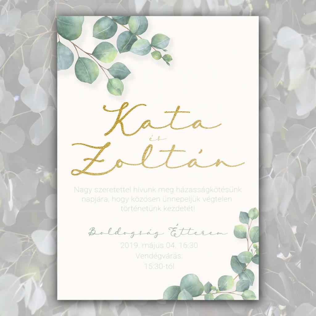 Esküvői Meghívó RoseArt Kata Zoltán Eukaliptusz Virág Elegáns Egyszerű Natúr Motívum Egyoldalas