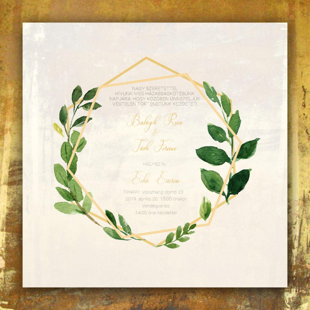 Esküvői Meghívó RoseArt Rita Ferenc Arany Minimál Egyszerű Elegáns Natúr Virág Motívum Egyoldalas