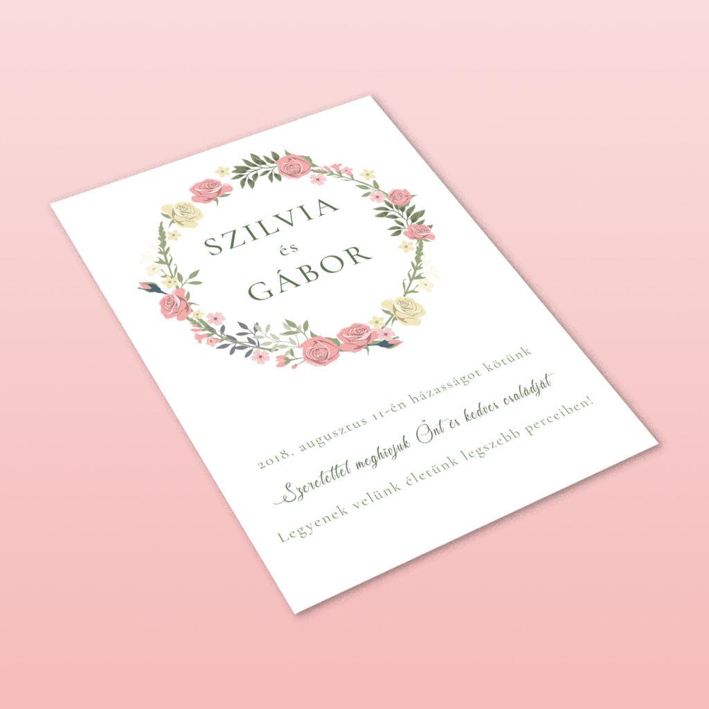 Esküvői Meghívó RoseArt Szilvia Gábor Minimál Egyszerű Fehér Virág Kör Motívum Egyoldalas